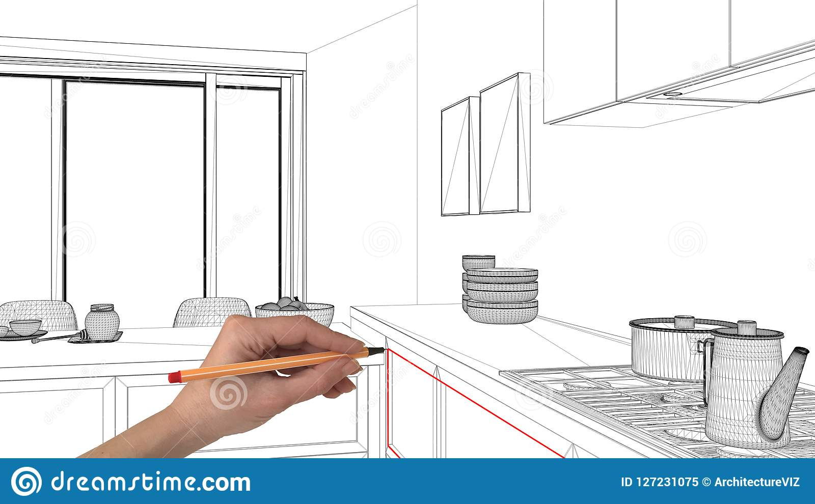 interior design project concept, hand drawing custom architecture, black  and white ink sketch, blueprint showing kitchen