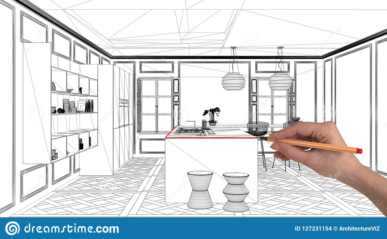 Interior Design Project Concept Hand Drawing Custom Architecture Black And White Ink Sketch Blueprint Showing Modern Kitchen Wi Stock Photo Image Of Contemporary Blueprint 127231154