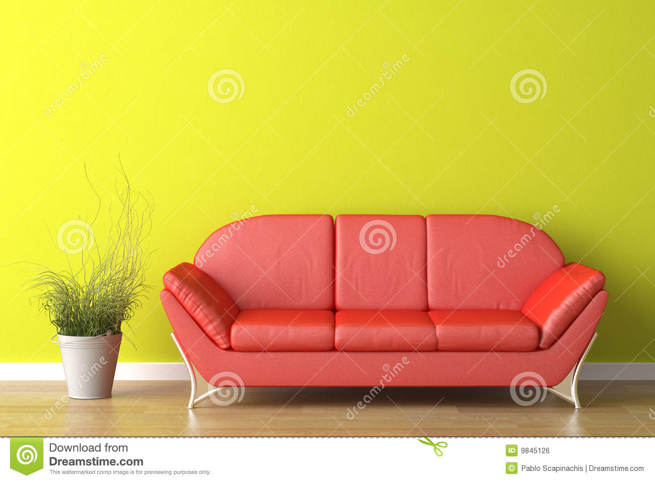 Interior design red couch on green royalty free stock - Red and green interior design ...