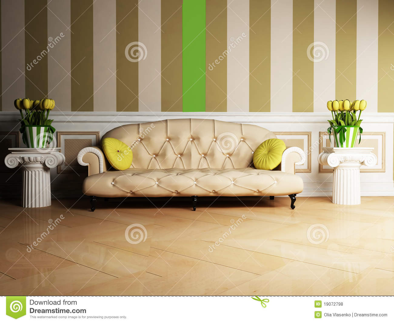 Interior Design Scene With A Classic Sofa Stock Illustration ...