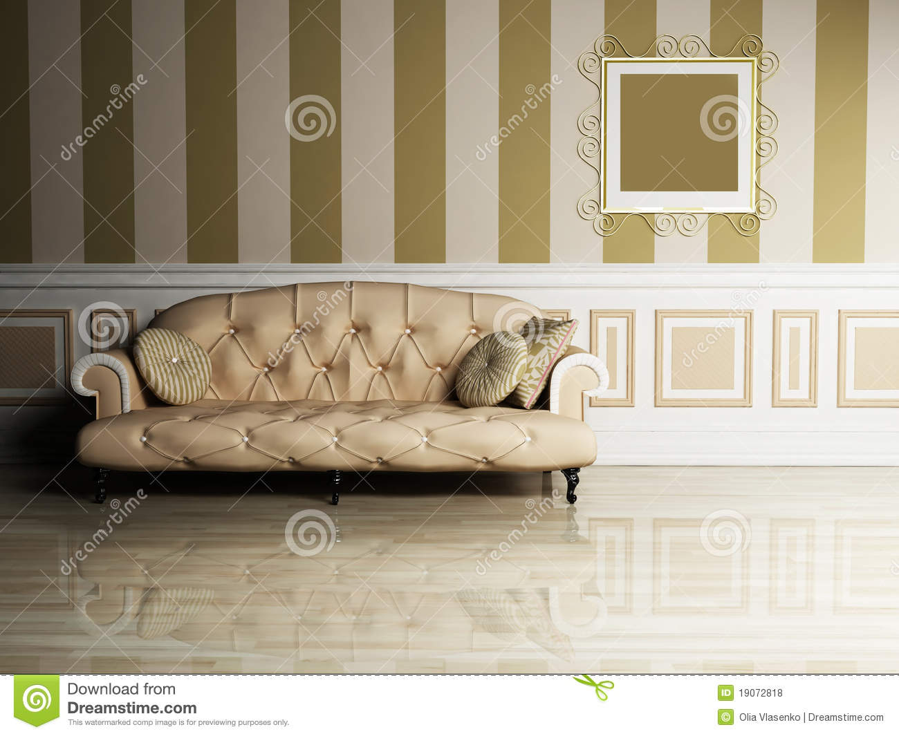 Interior Design Scene With A Classic Sofa Royalty Free Stock