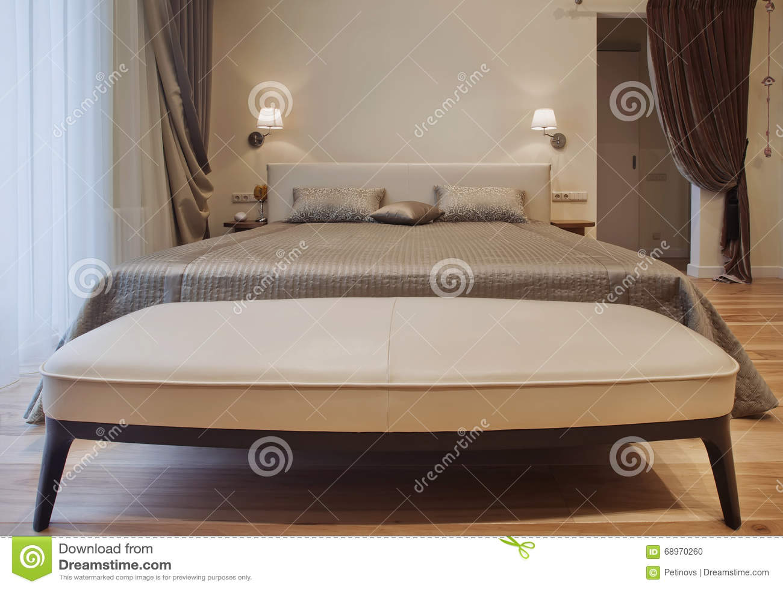 Interior Design Series Of Nice Cozy Bedroom Stock Photo