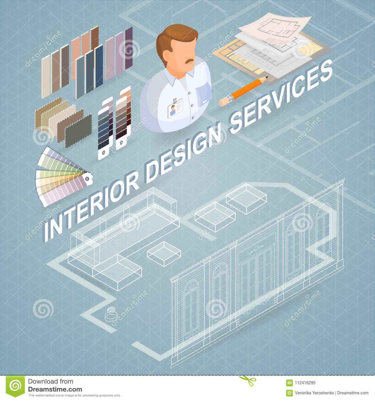 Interior design services isometric project and repairs concept interior design services isometric project and repairs concept ccuart Image collections