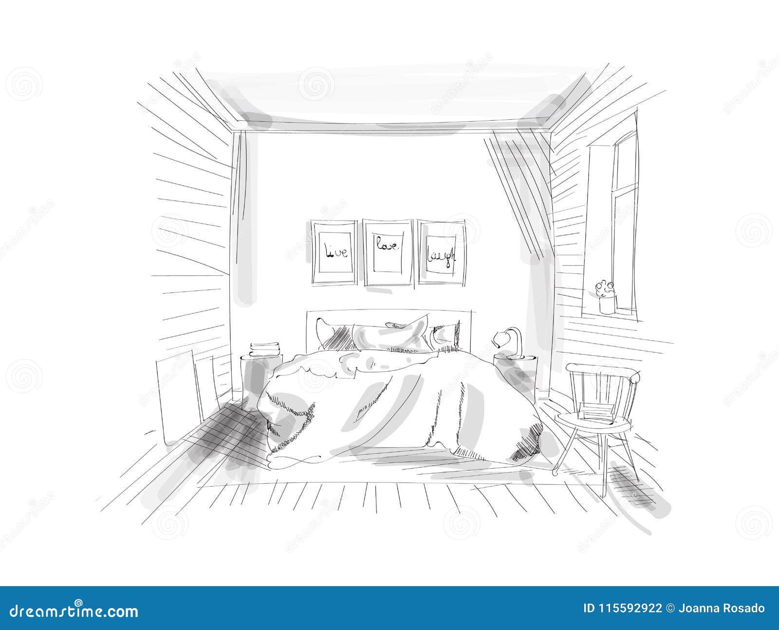 Interior design sketch hand drawn vector illustration of bedroom furniture