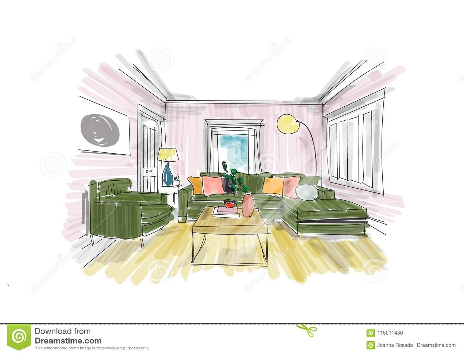 Interior Design Sketch Hand Drawn Vector Illustration Of