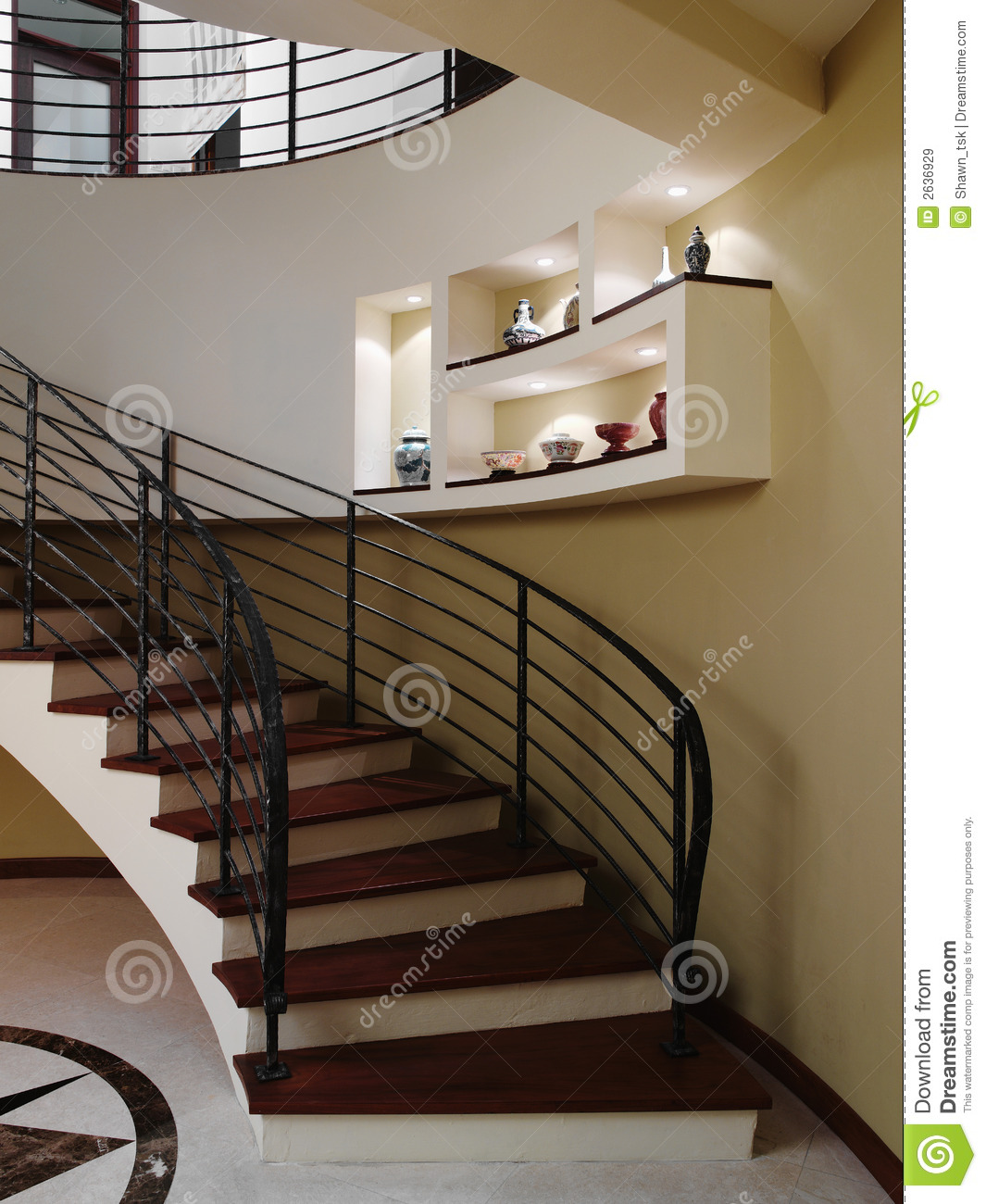 Interior Home Decoration Indoor Stairs Design Pictures: Stairs Stock Image. Image Of Ceiling