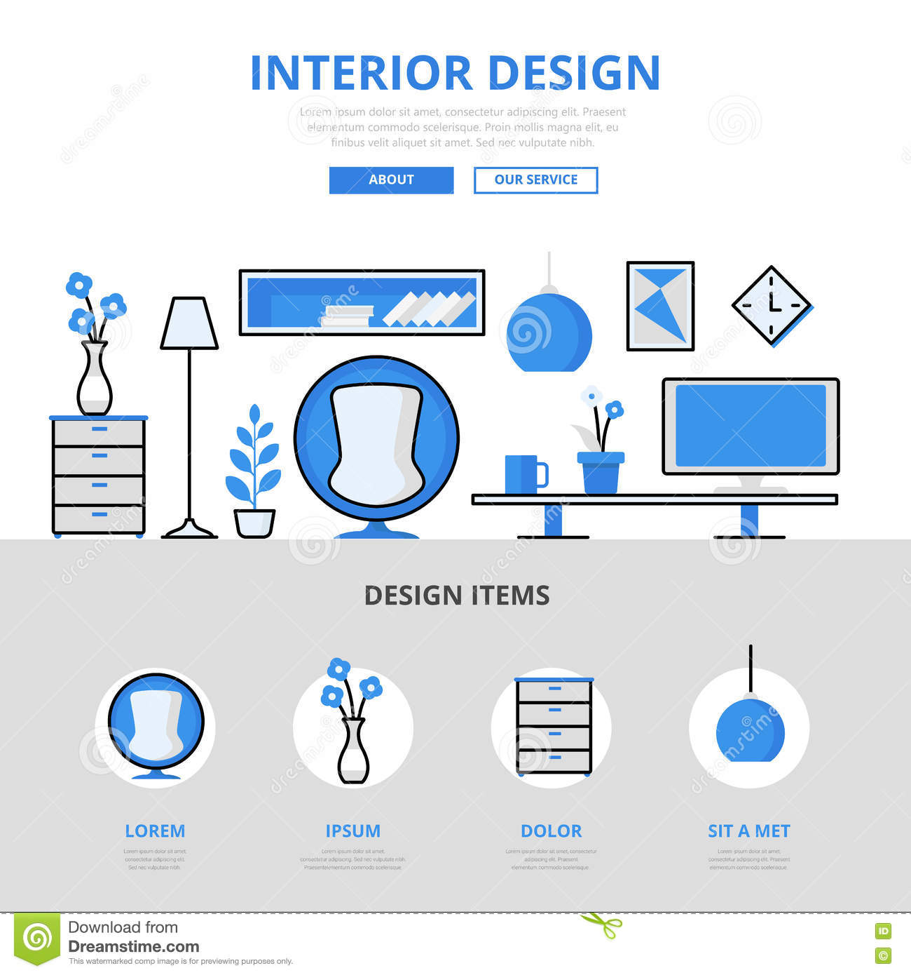 Interior Design Studio Concept Flat Line Art Vector Icons