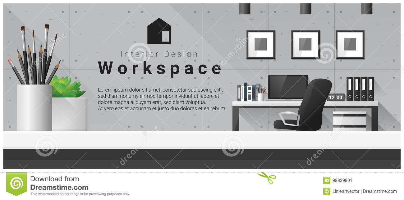 Interior design with table top and Modern office workplace background