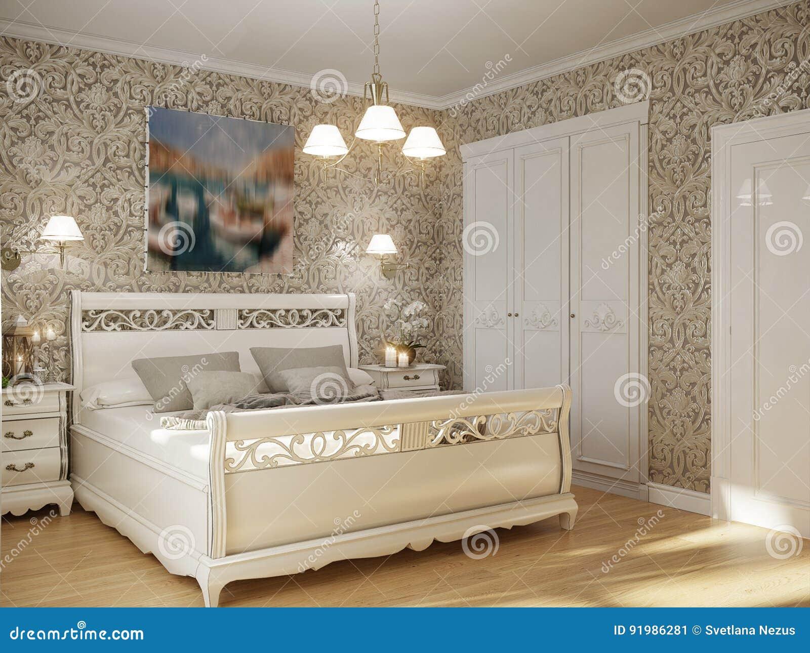 Interior Design Tradizionale Classico Della Camera Da Letto ...