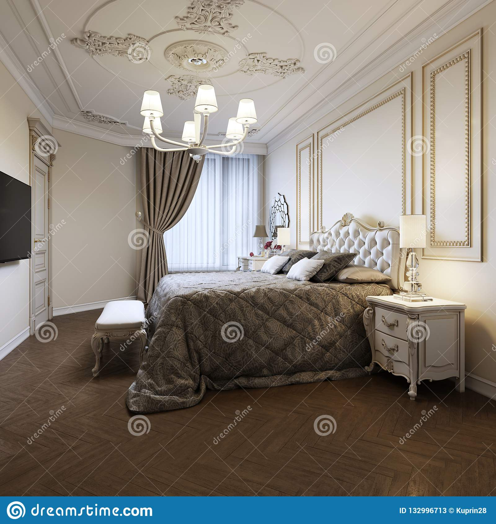 Design Pareti Camera Da Letto.Interior Design Tradizionale Della Camera Da Letto Del Classico