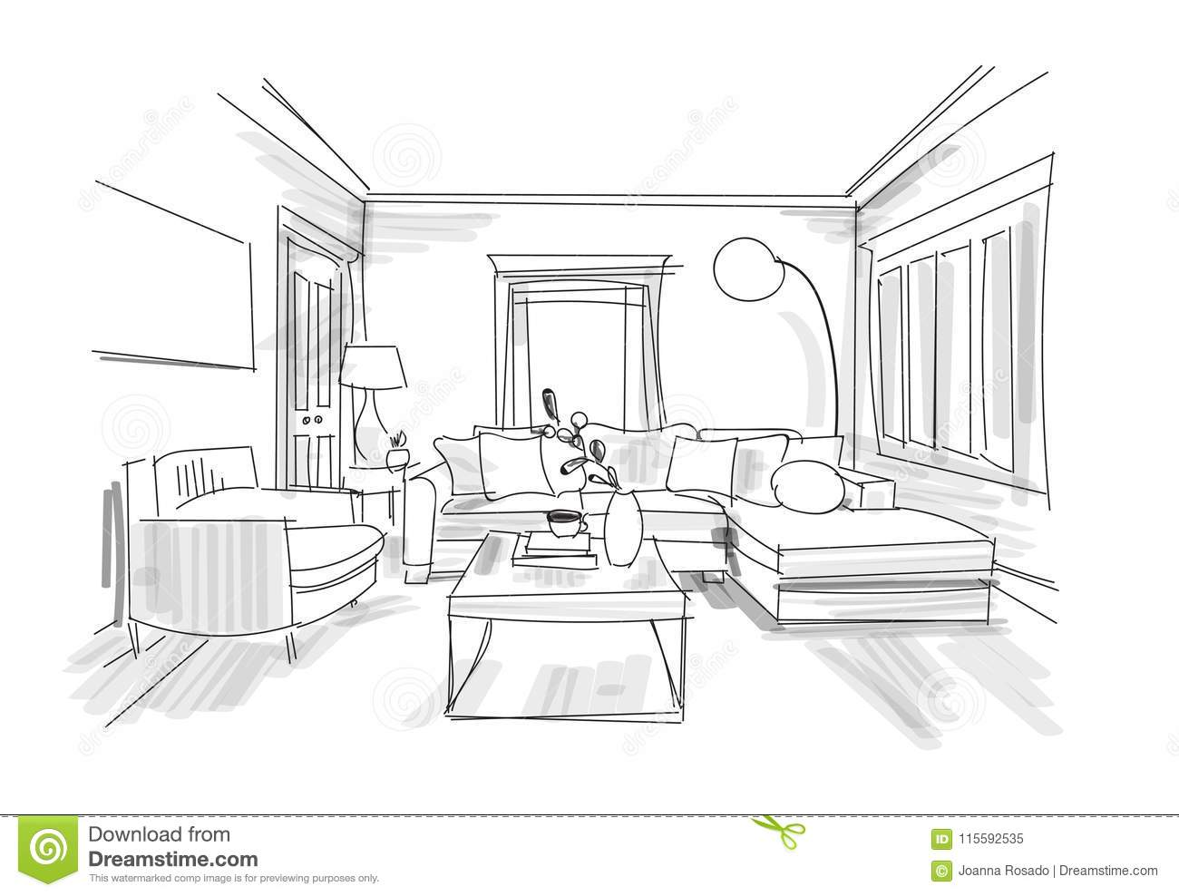 Interior Design Watercolor Illustration Living Room Furniture Stock Vector Illustration Of Chair Drawing 115592535