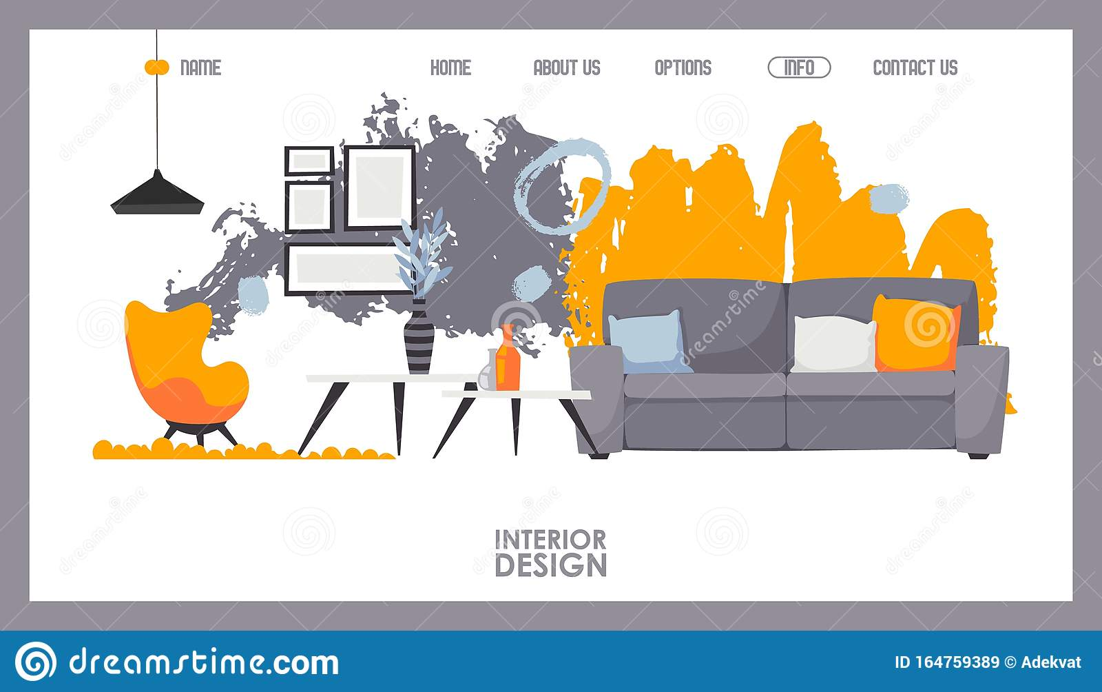 Interior Design Website Vector Illustration Landing Page Template Of Furniture Store Online Shopping For Home Stock Vector Illustration Of Brush Creative 164759389