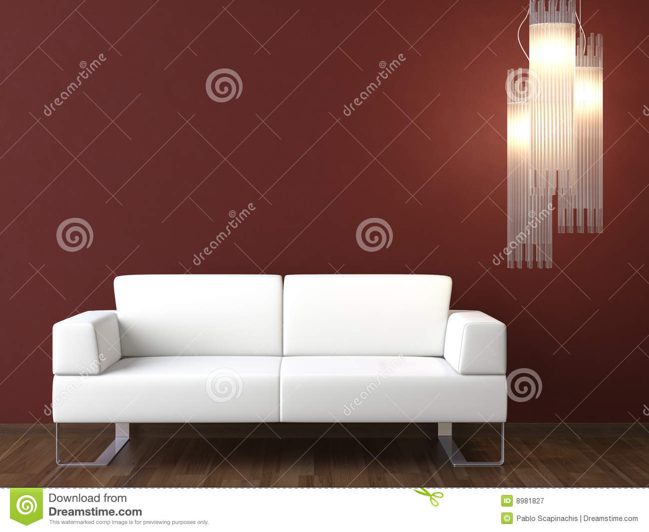 interior design white couch on bordeaux wall stock image image 8981827. Black Bedroom Furniture Sets. Home Design Ideas