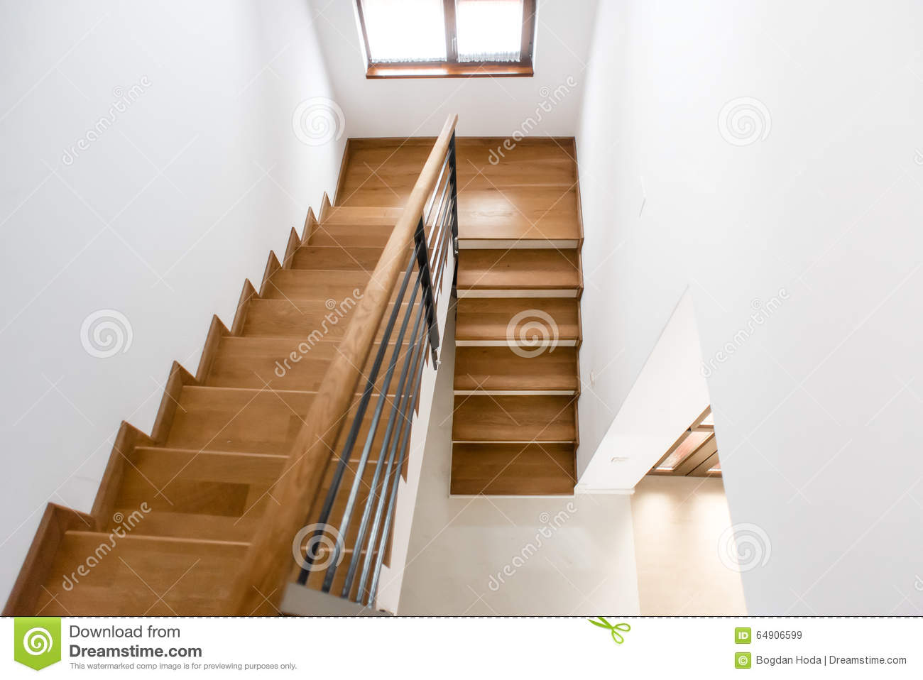 Interior Design Wooden Minimalist Staircase In Luxury Home Modern Architectural Loft With