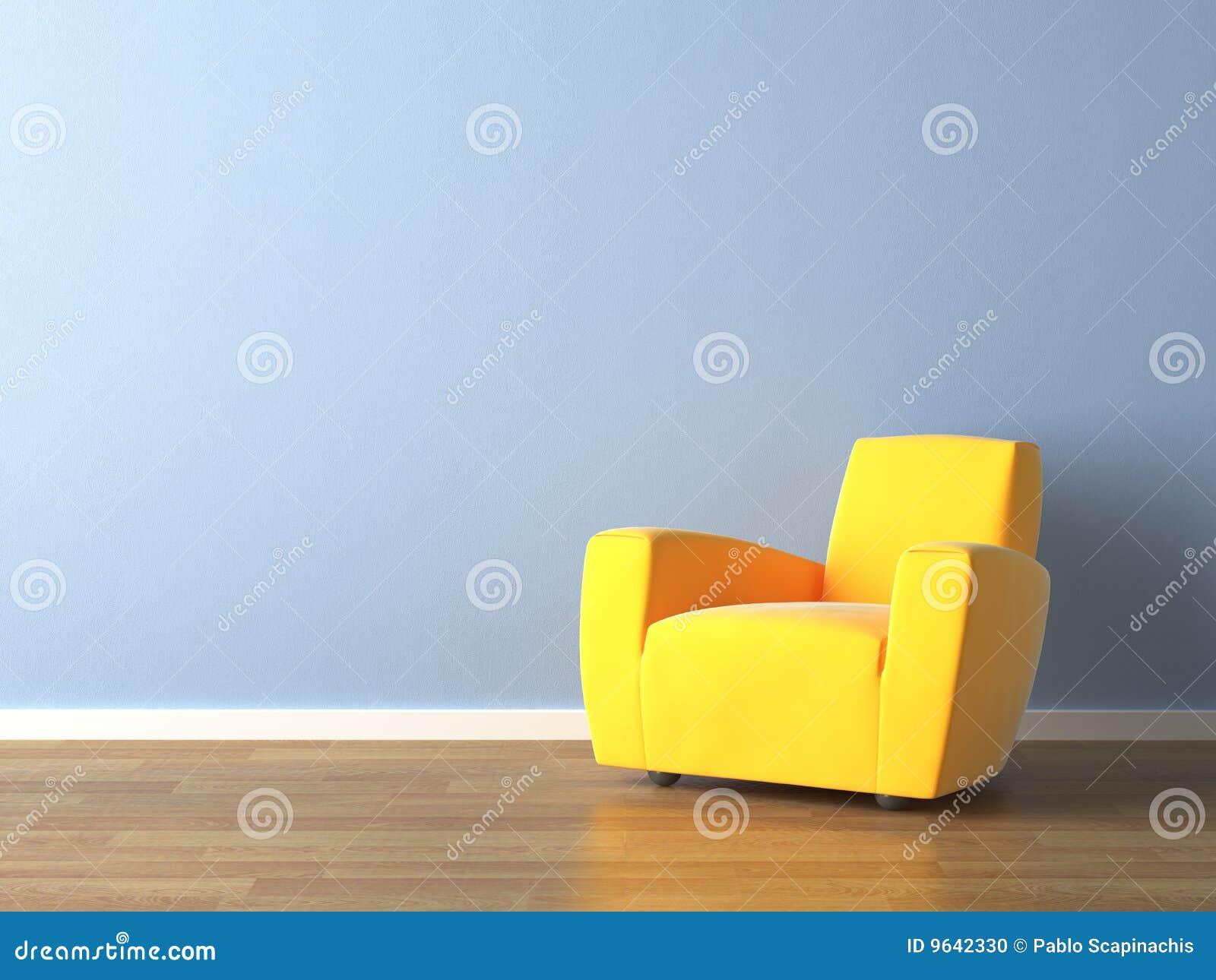 Interior Design Yellow Armchair On Blue Stock Illustration