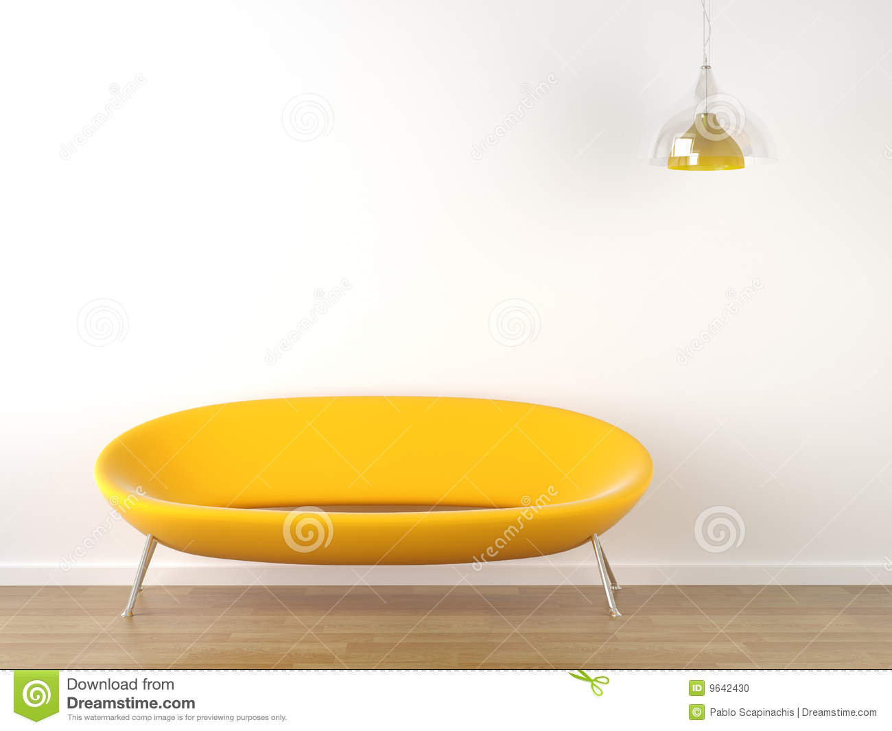 Interior Design Yellow Couch On White Stock Photo - Image: 9642430