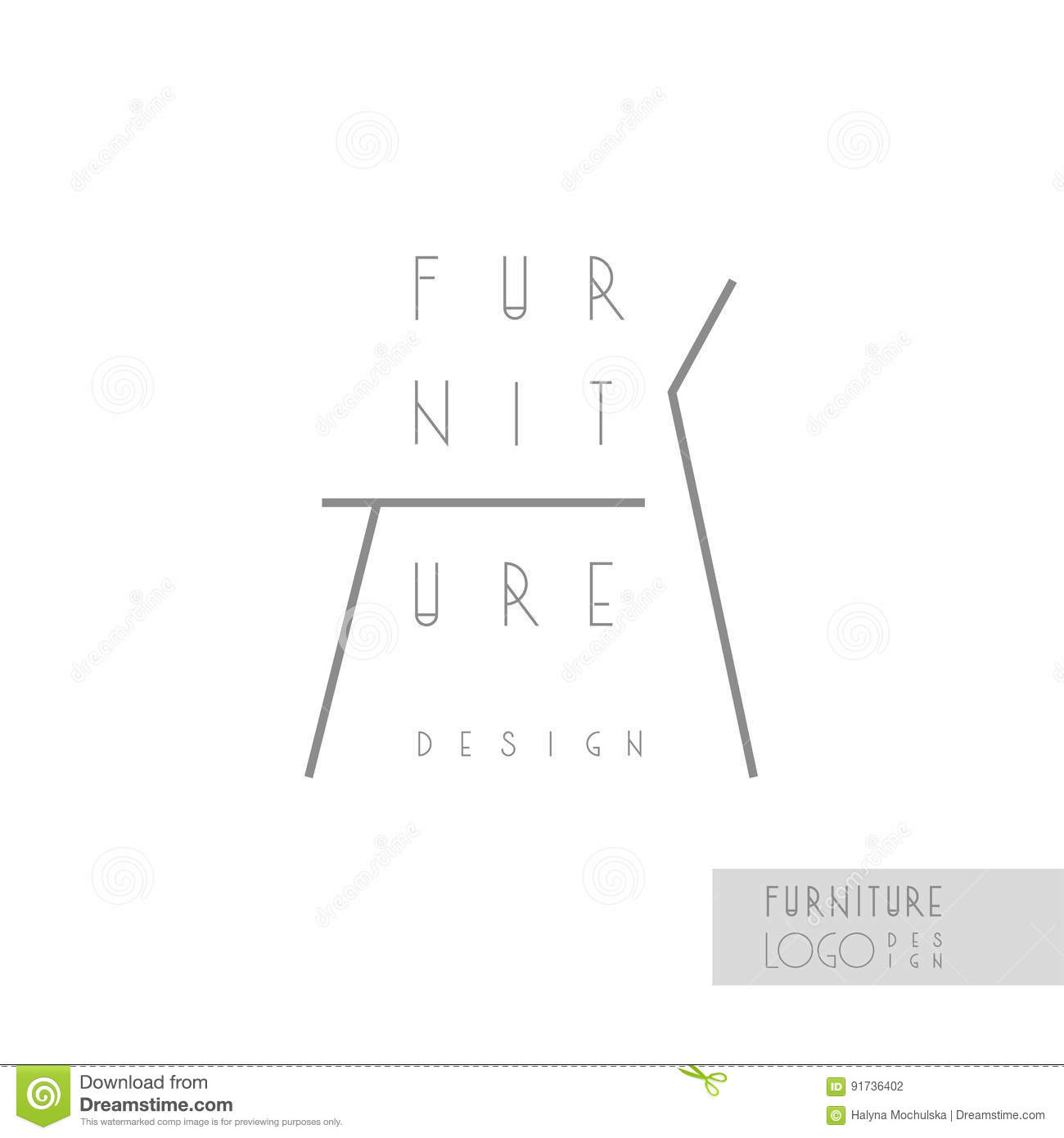 interior designer brand identity chair line logo business card template included stock vector. Black Bedroom Furniture Sets. Home Design Ideas