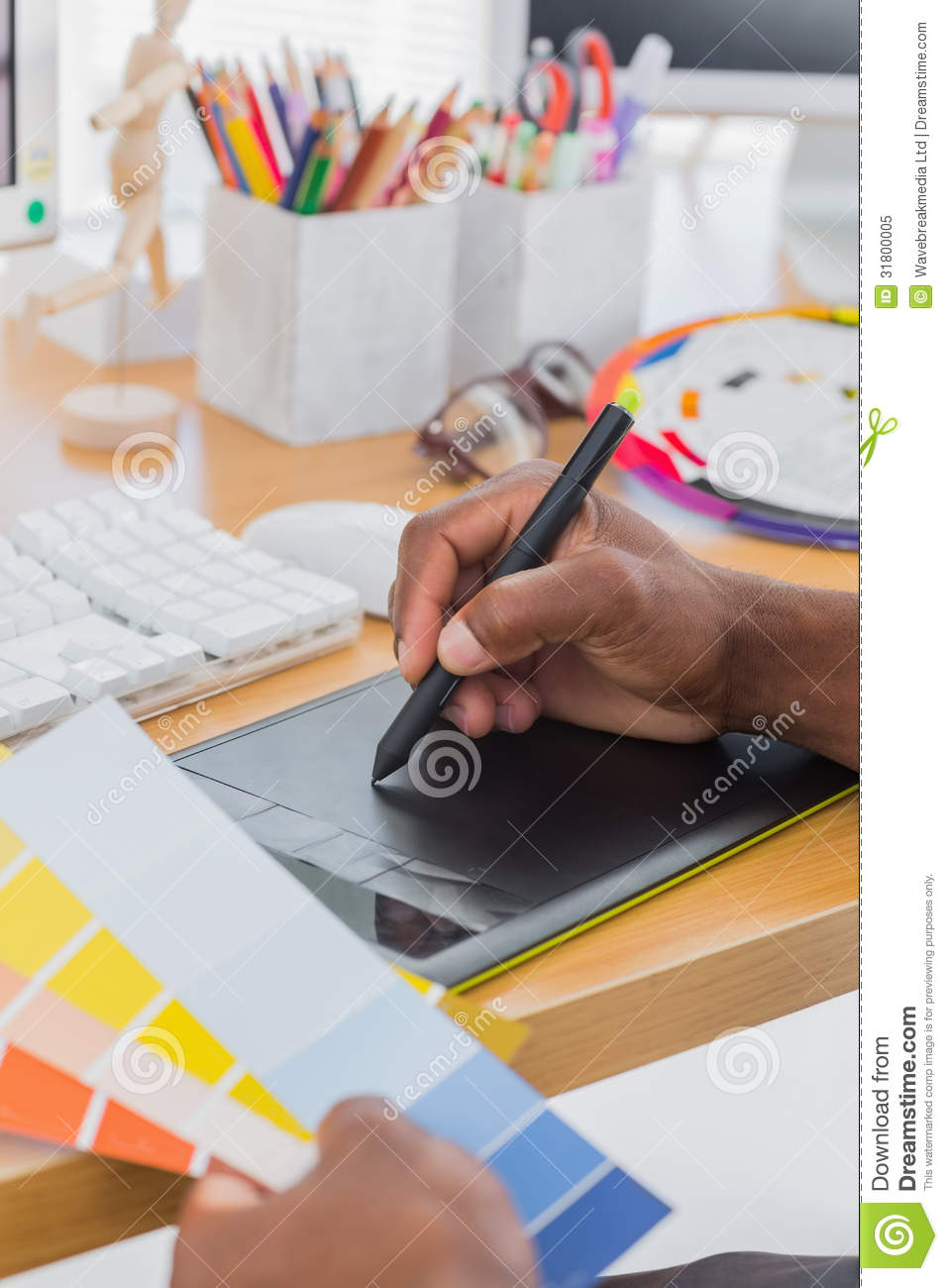 Interior designer with graphics tablet and colour chart royalty free stock photo image 31800005 for Best tablet for interior designers