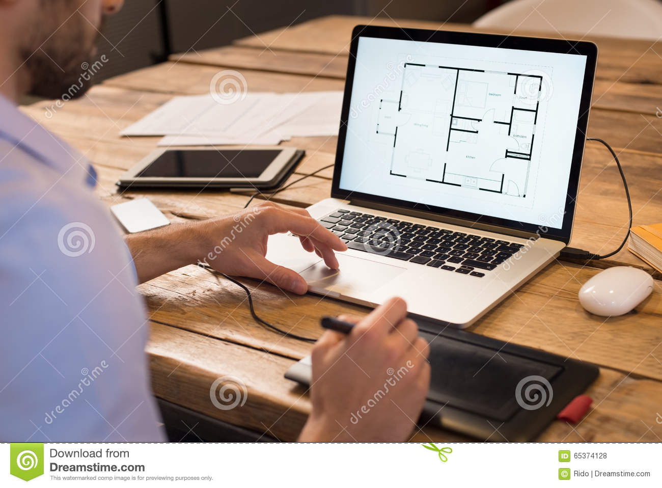 Interior designer at work stock photo image of desk for Interior planner