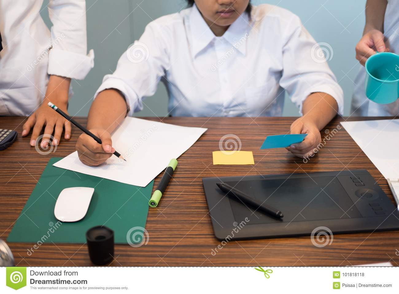 Interior designer working with graphic tablet at workplace arti stock photo image 101818118 for Best tablet for interior designers