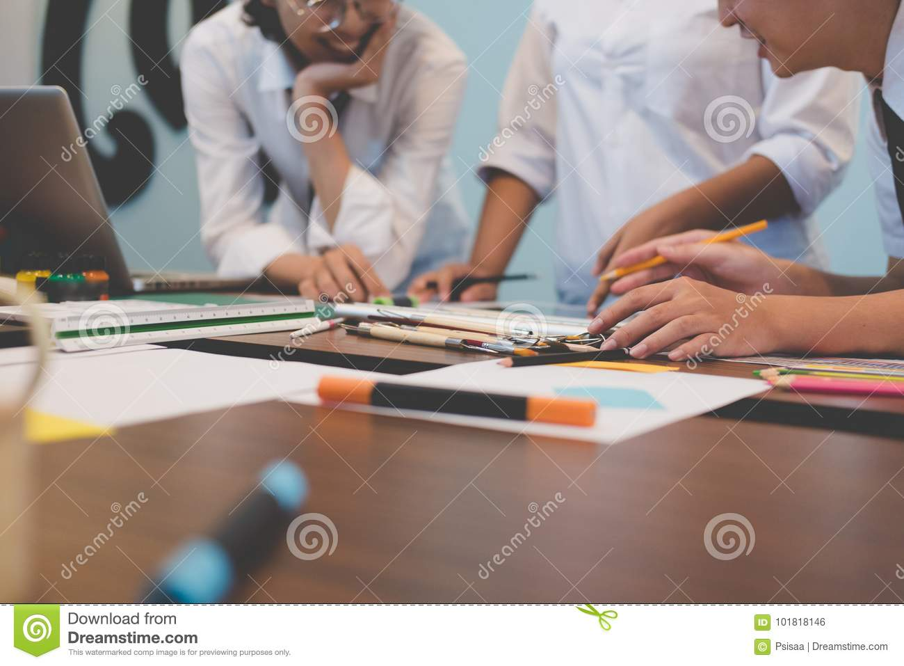interior designer working with graphic tablet at workplace. artist discussing design and idea at office. business people