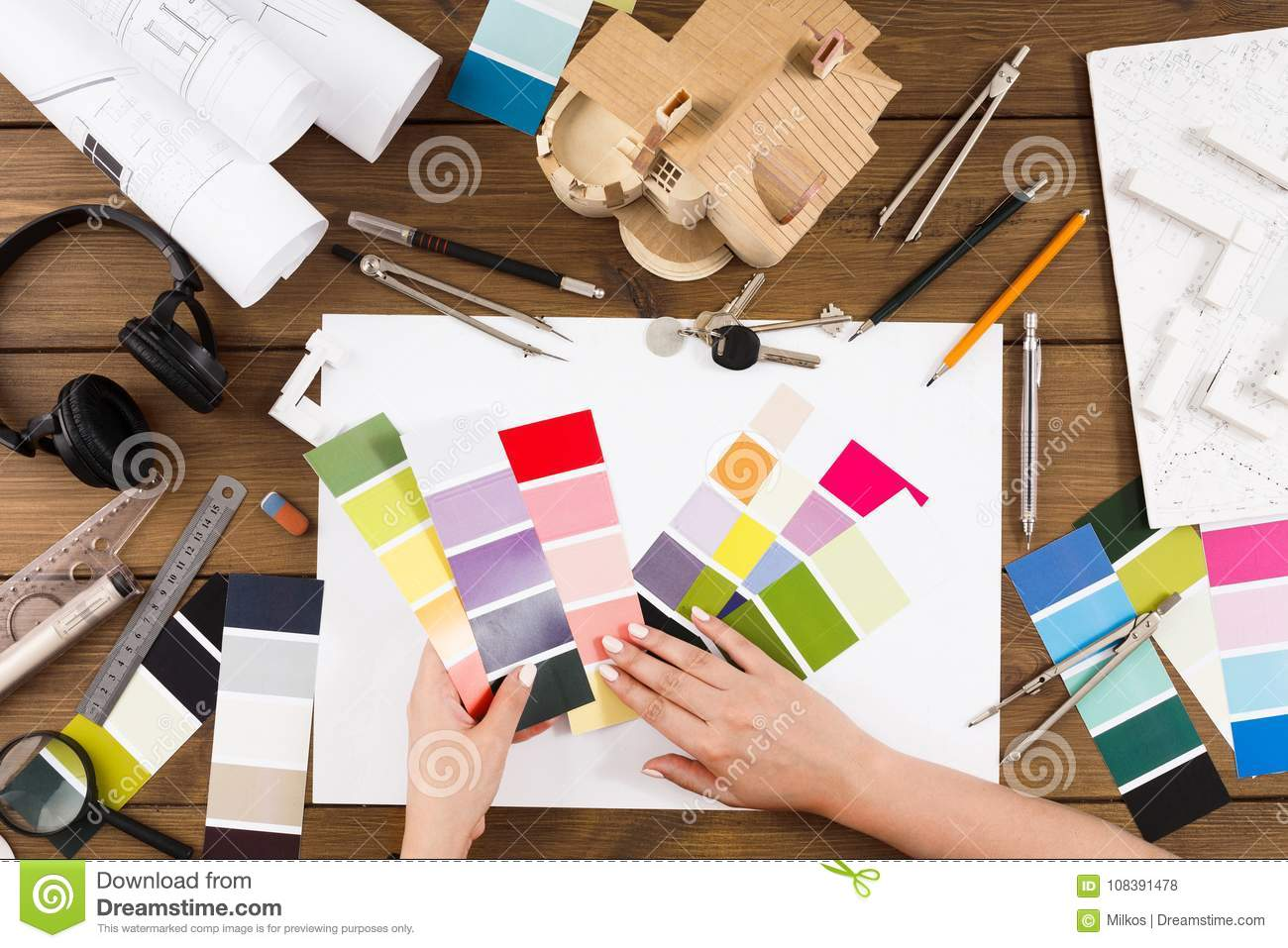 Interior Designer Working With Palette Top View Stock Photo