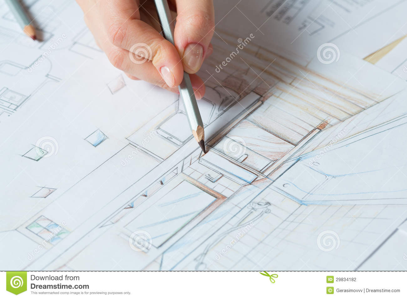 Hand drawing details of interior stock photography image for Interior design color planner