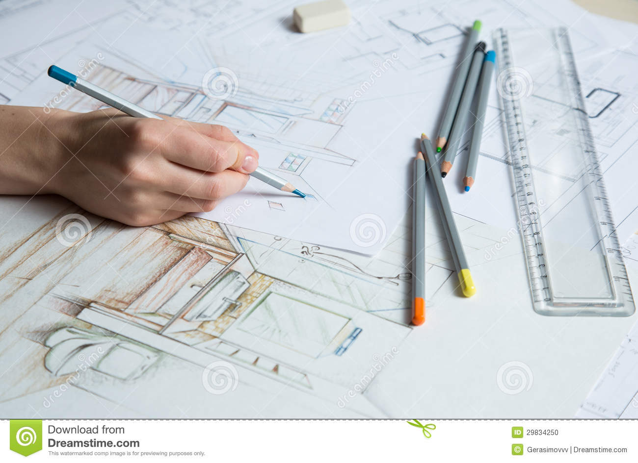 Interior Design Color Sketches Hand Drawing Details Of The Interior Stock Photo  Image 29834250