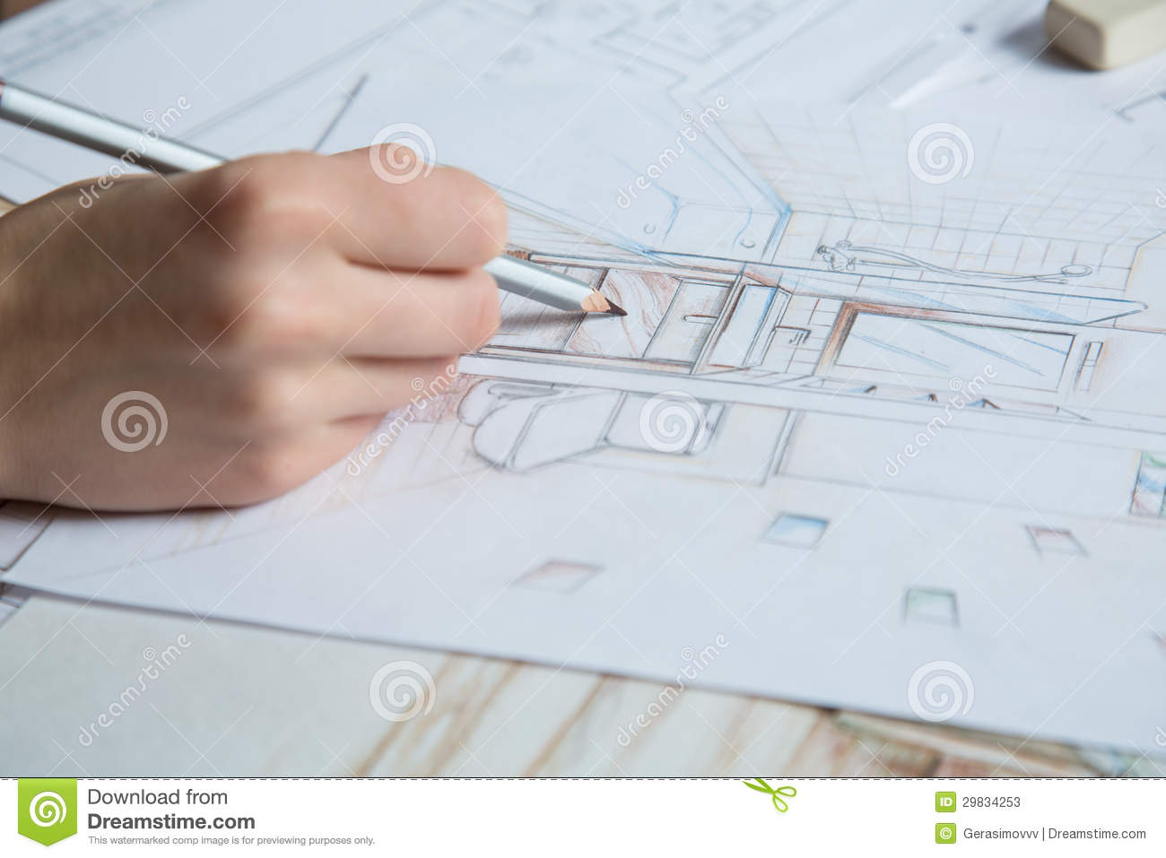 Hand drawing details of interior stock illustration for Interior design color planner
