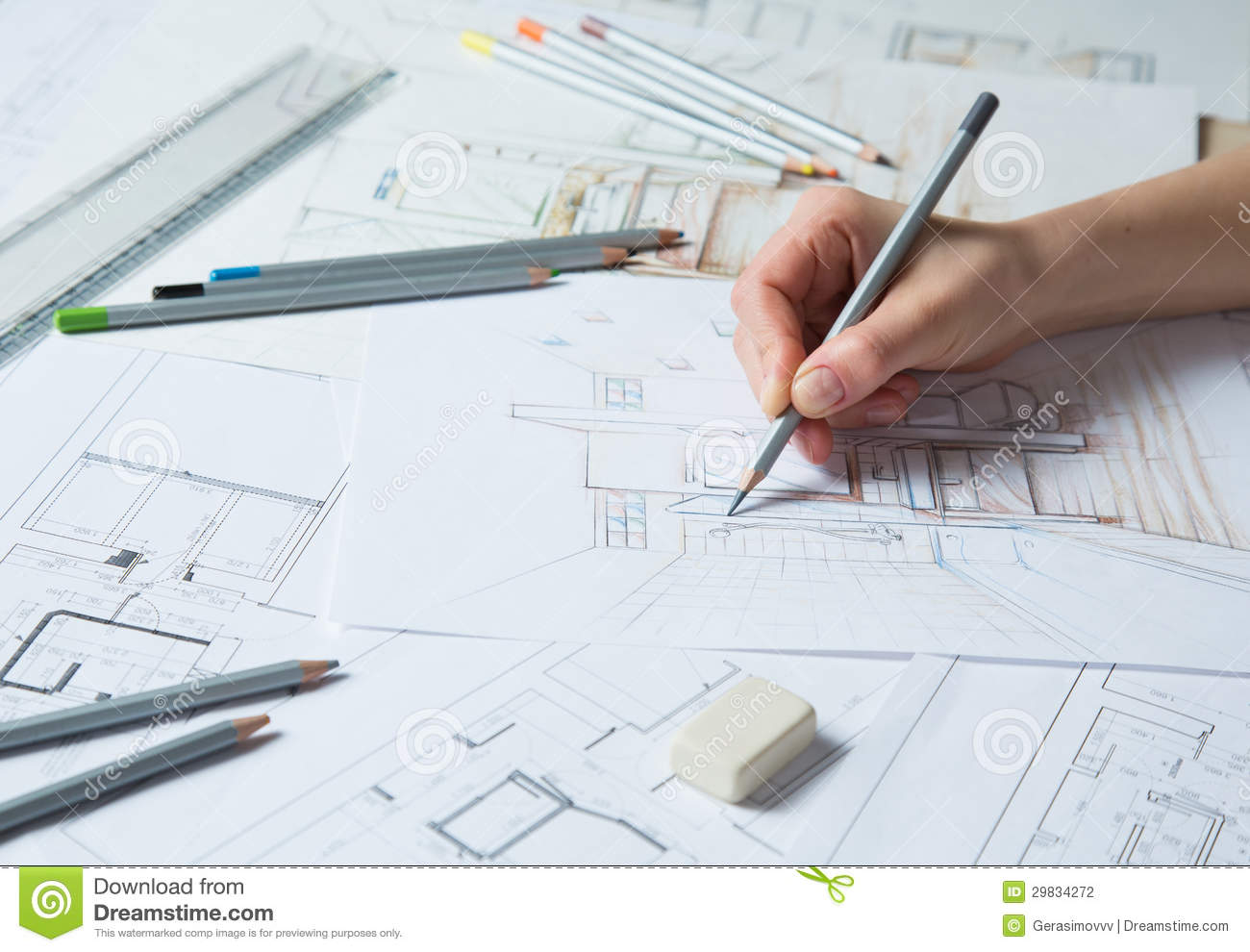 hand drawing details of interior stock photography image