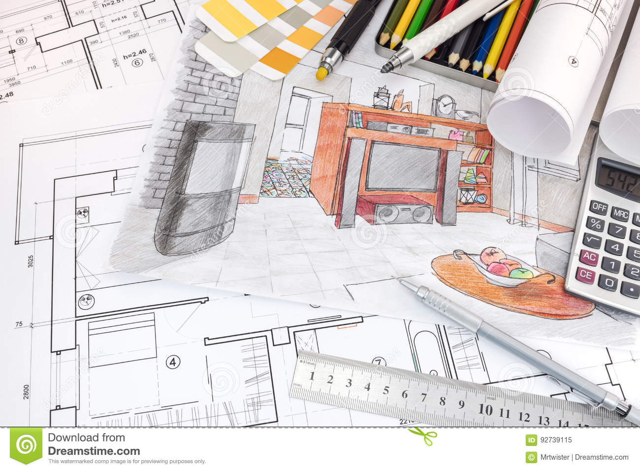Interior designer workspace with sketches of apartment and for Interior design tools