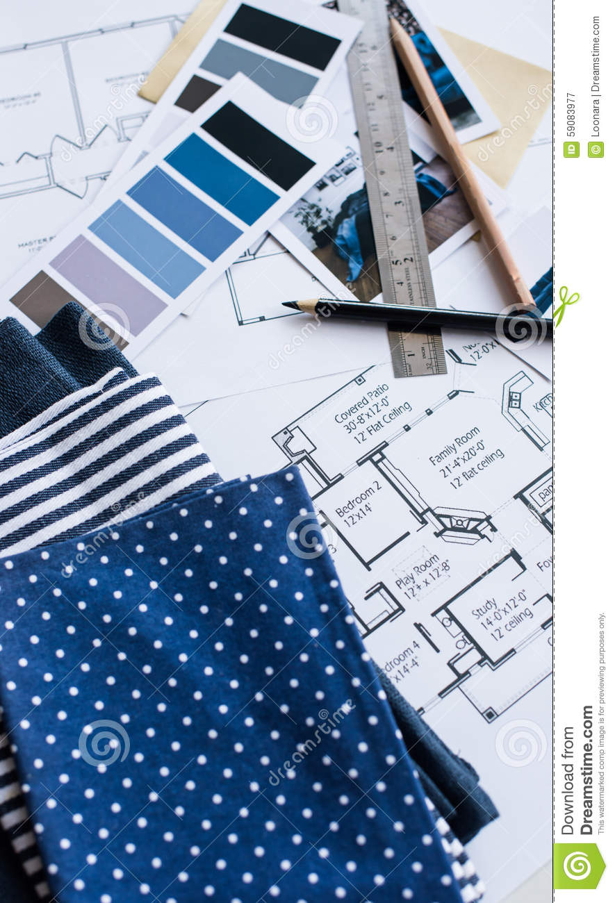 Interior Designers Working Table Stock Photo Image 59083977
