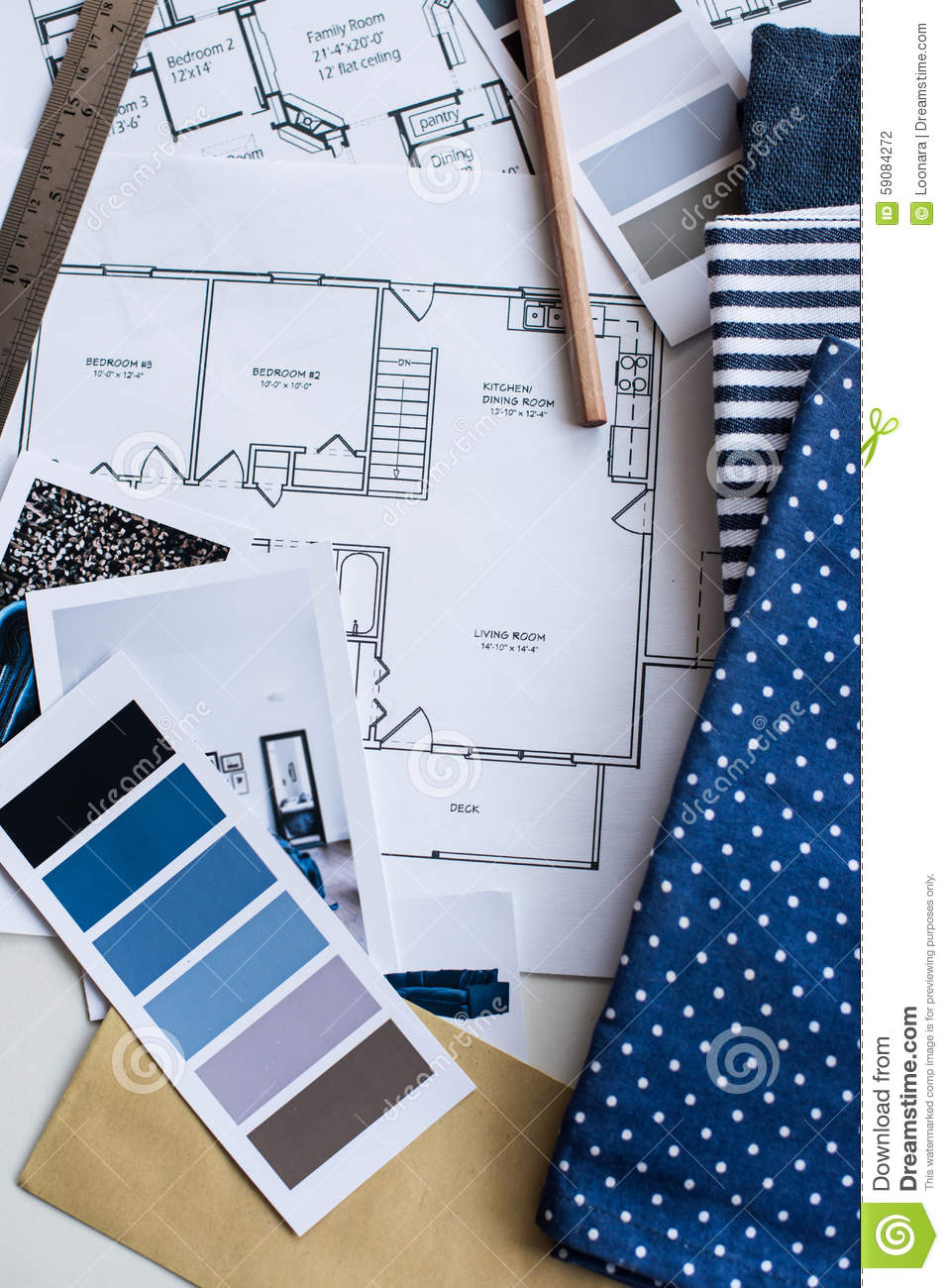Interior Designers Working Table Stock Photo Image 59084272