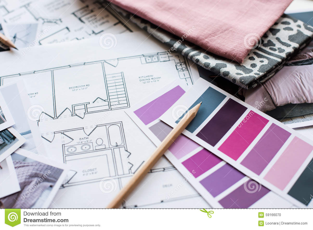 Interior Designers At Work architect and interior designer work table stock photo - image