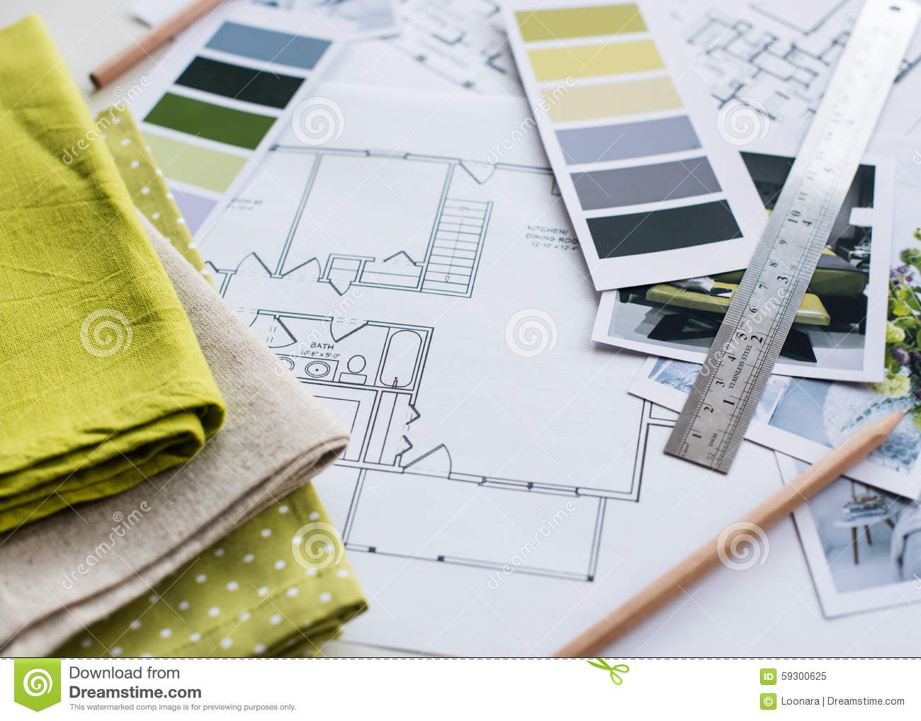Interior Designers Working Table Stock Photo Image 59300625