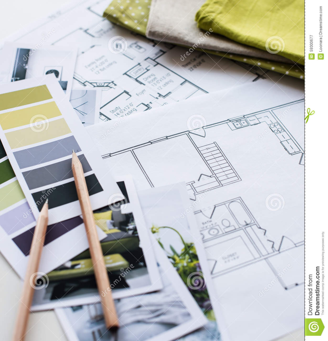 Interior Designers Working Table Stock Photo Image 59300677
