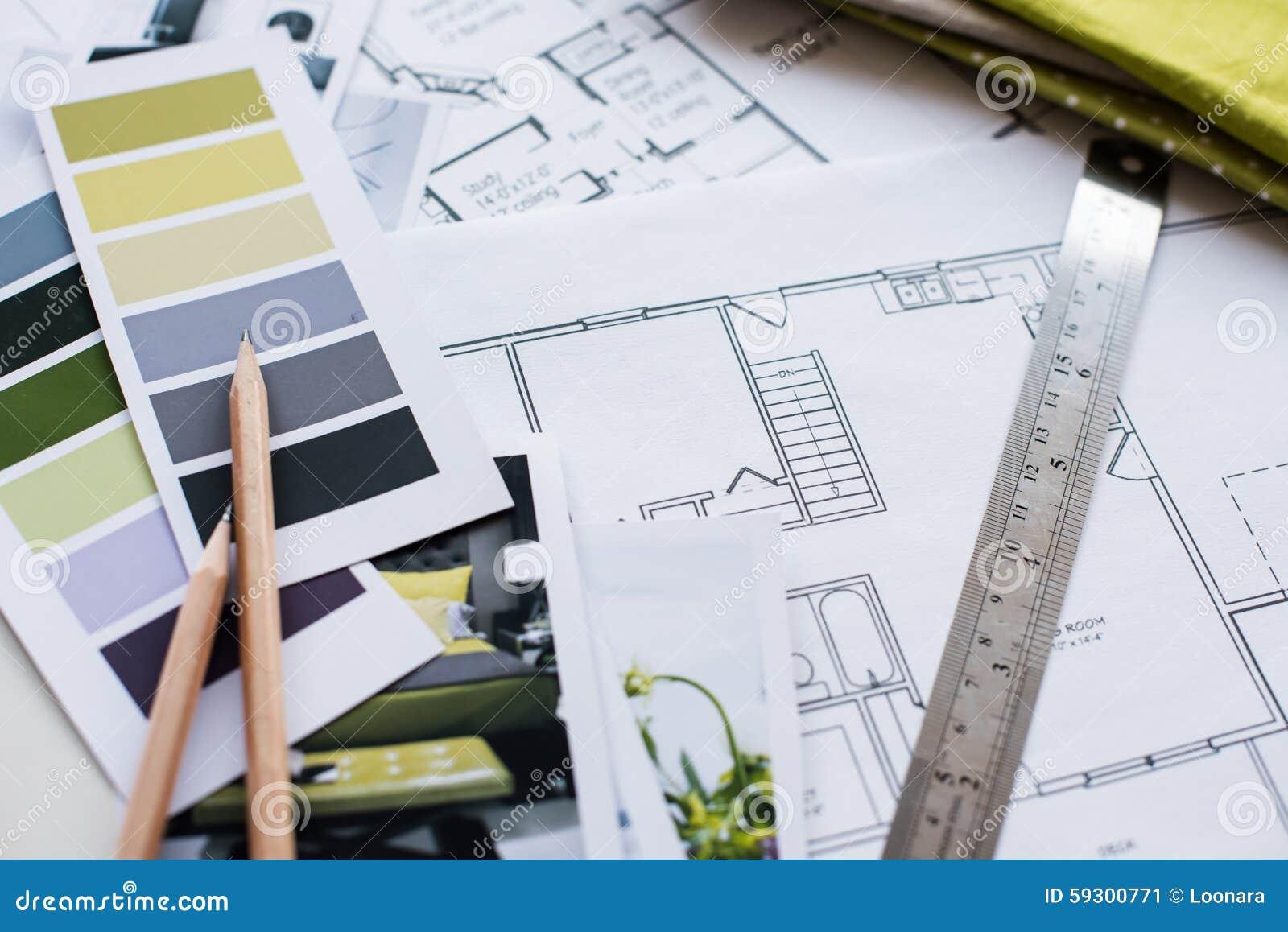Interior Design Furniture Proposal ~ Interior designers working table stock photo image
