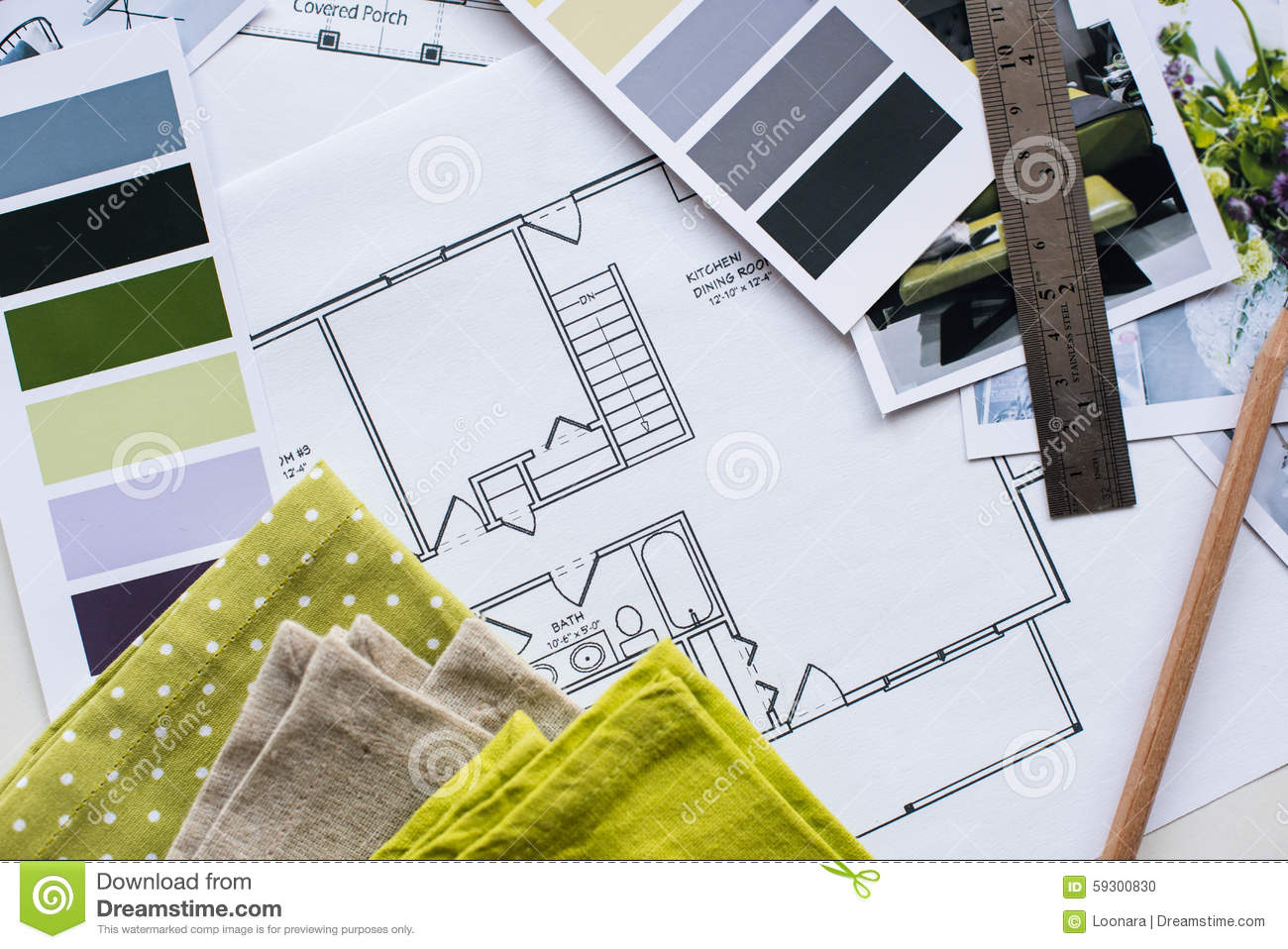 Interior Designers Working Table Stock Photo Image 59300830