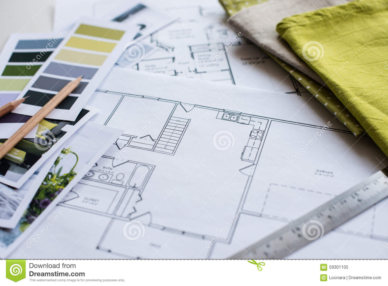 Interior Designers Working Table Stock Image