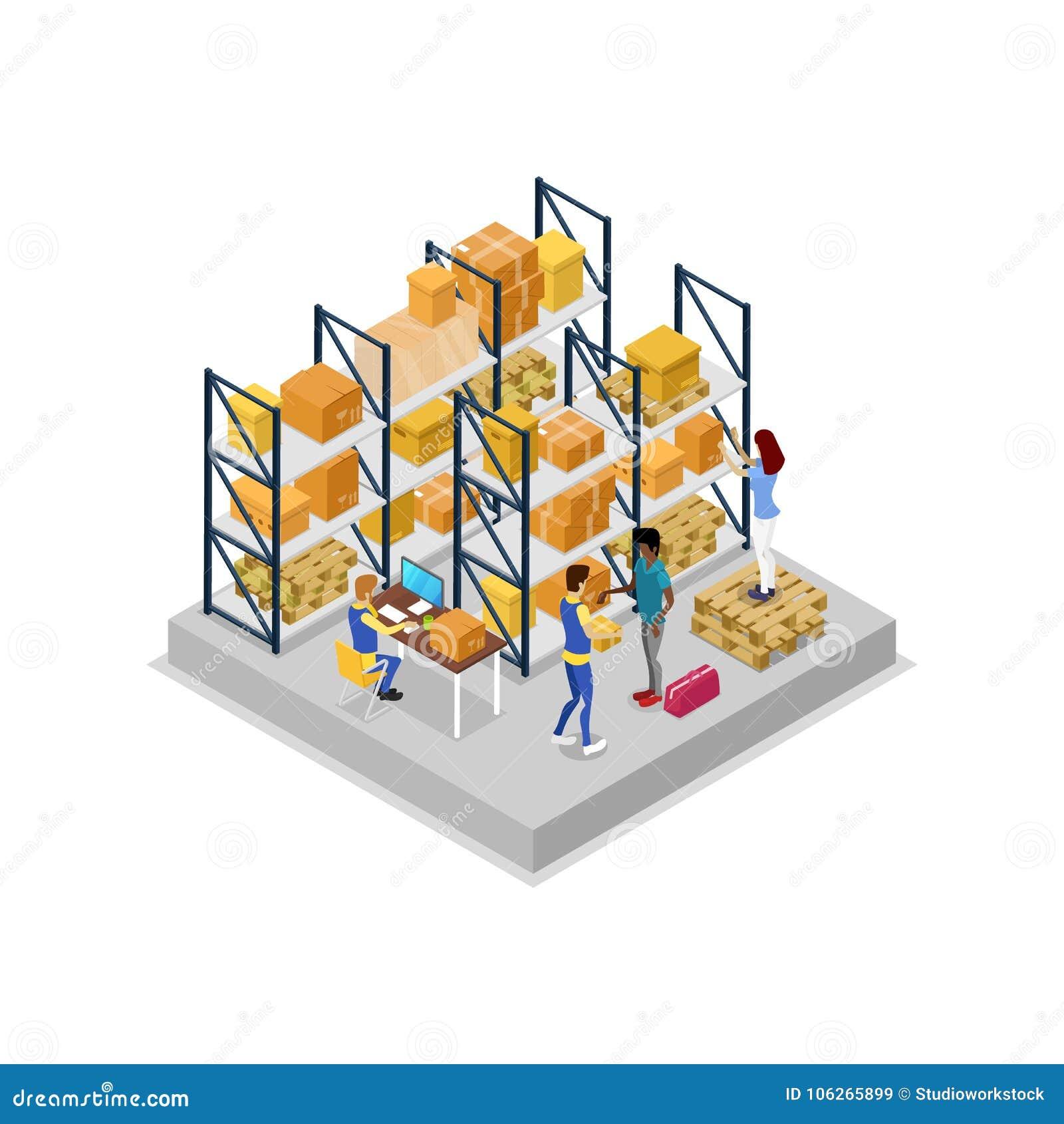 Interior do armazém com ícone 3D isométrico dos trabalhadores