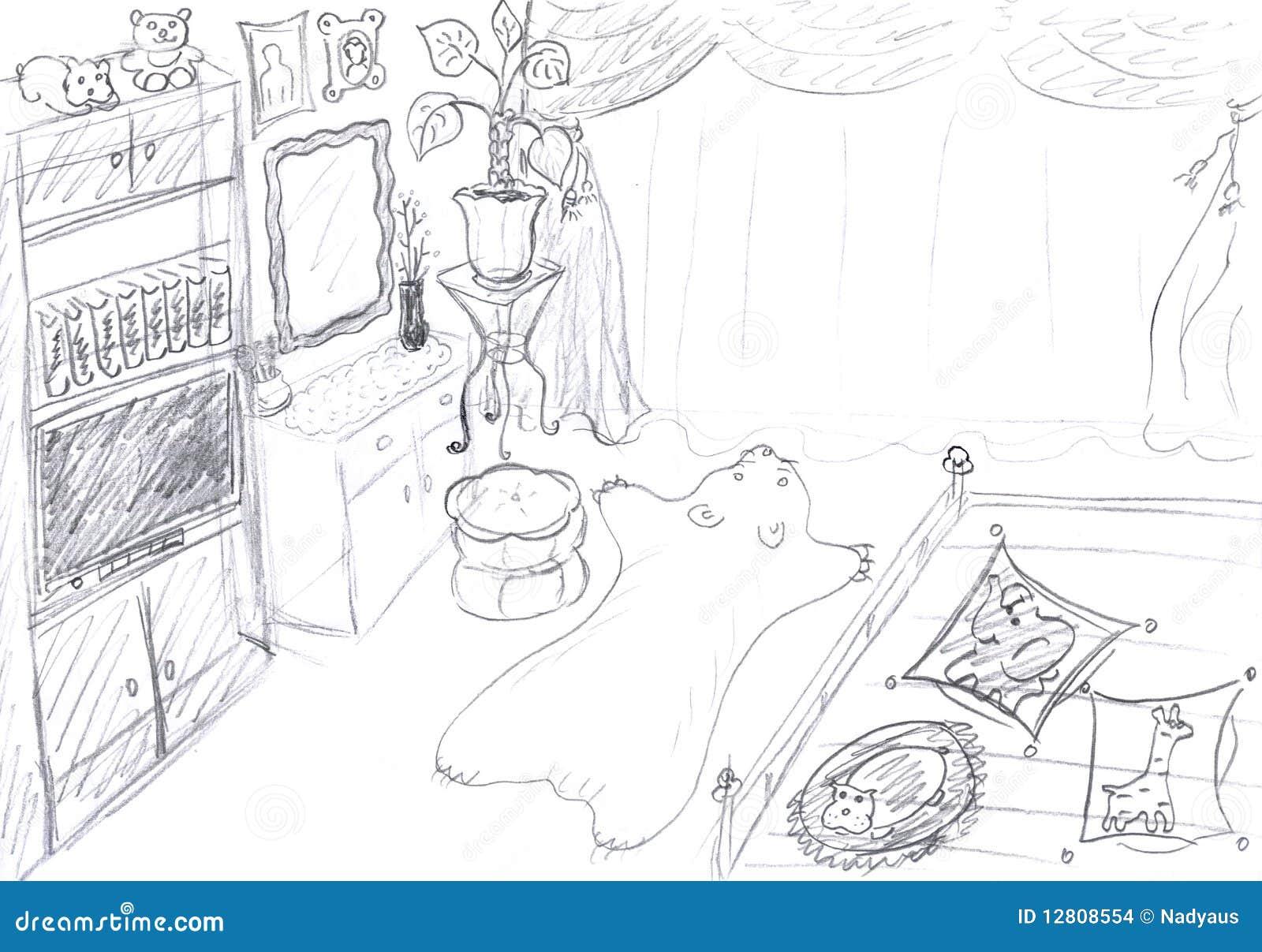 Interior do esboço do quarto