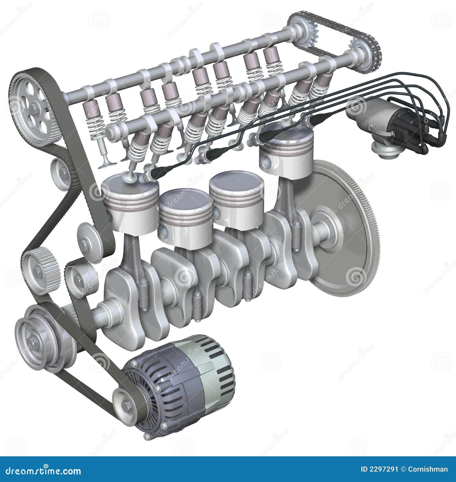 Interior do motor de gasolina