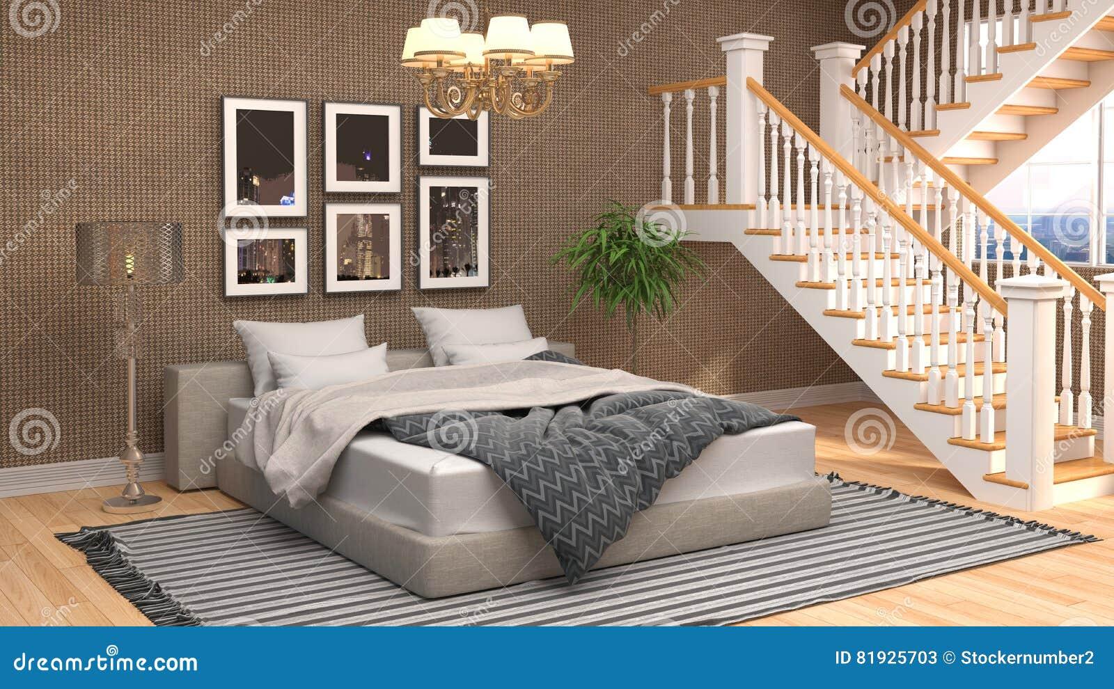 Interior do quarto ilustração 3D