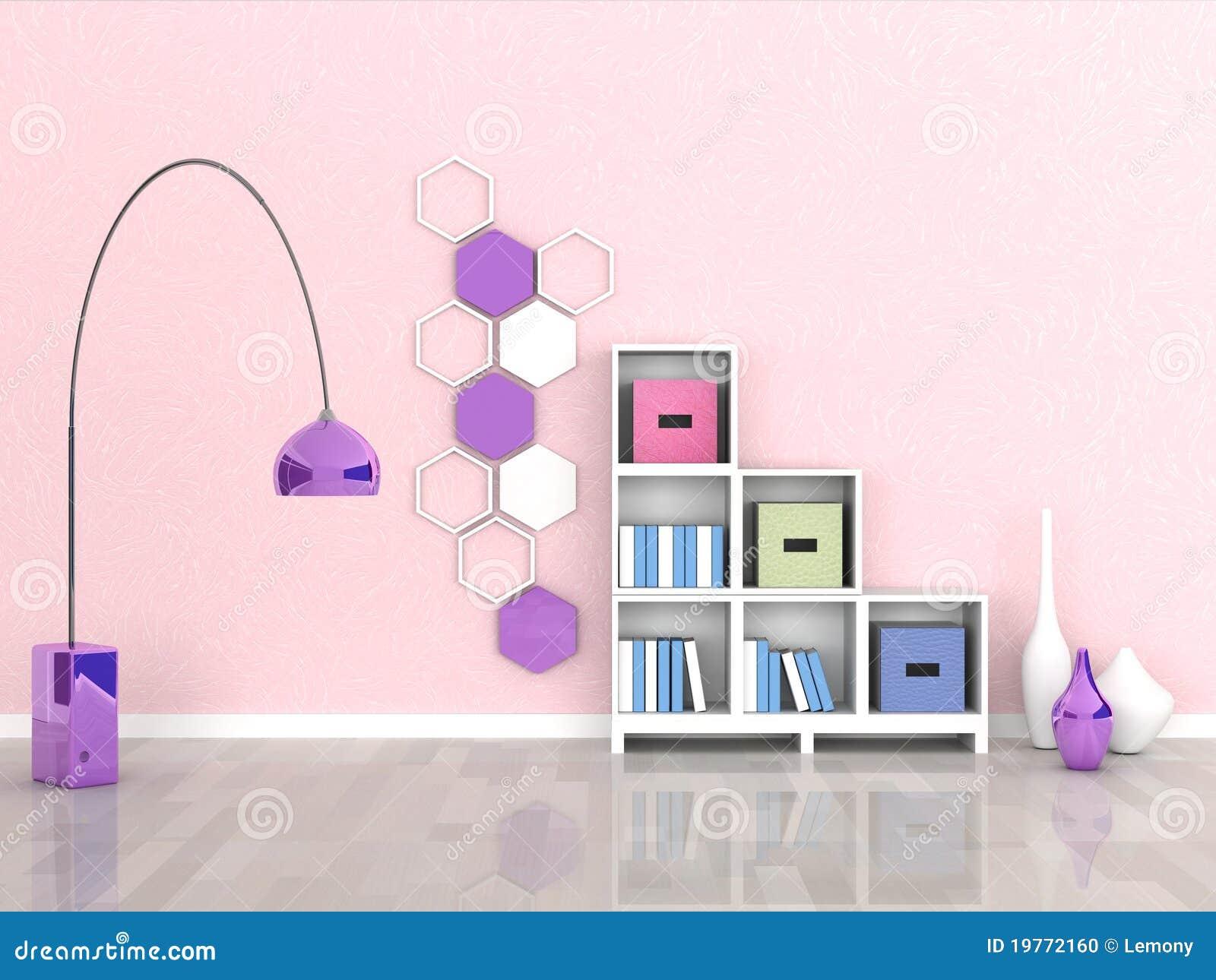 Interior Do Quarto Moderno, Parede Cor de rosa Foto de  ~ Quarto Rosa Moderno