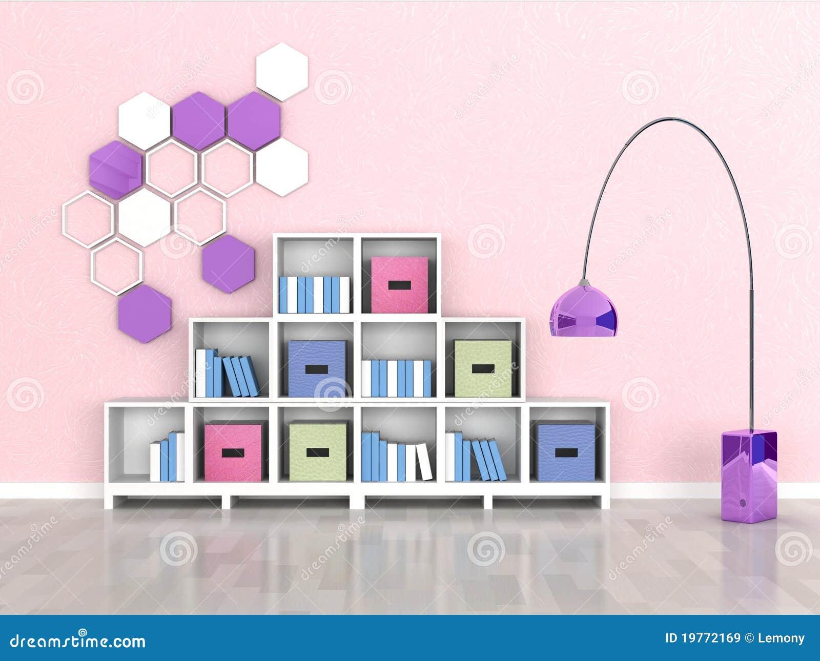Interior Do Quarto Moderno, Parede Cor de rosa Imagens de  ~ Quarto Rosa Moderno