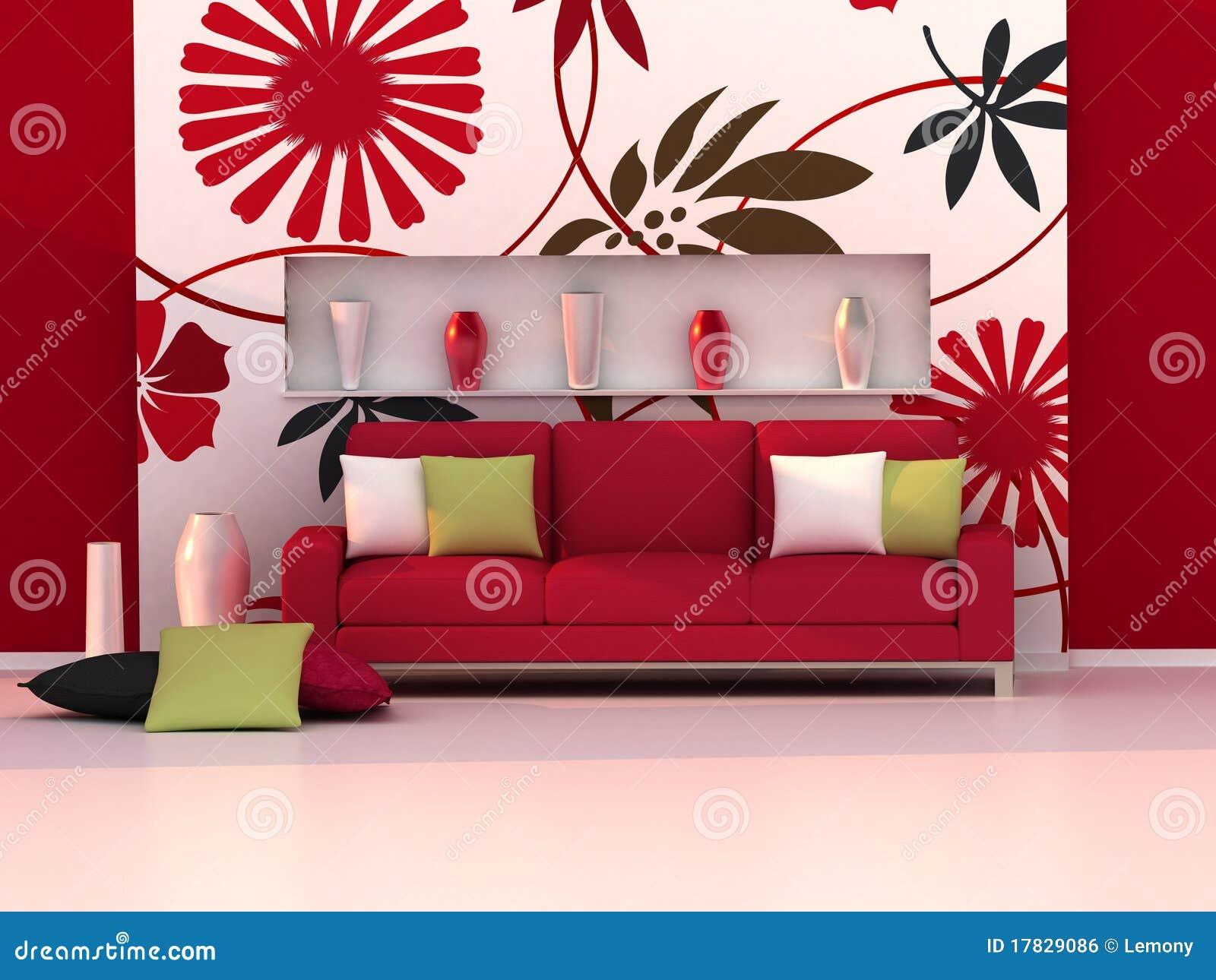 Interior Do Quarto Moderno Parede Floral Sof Vermelho Ilustra O
