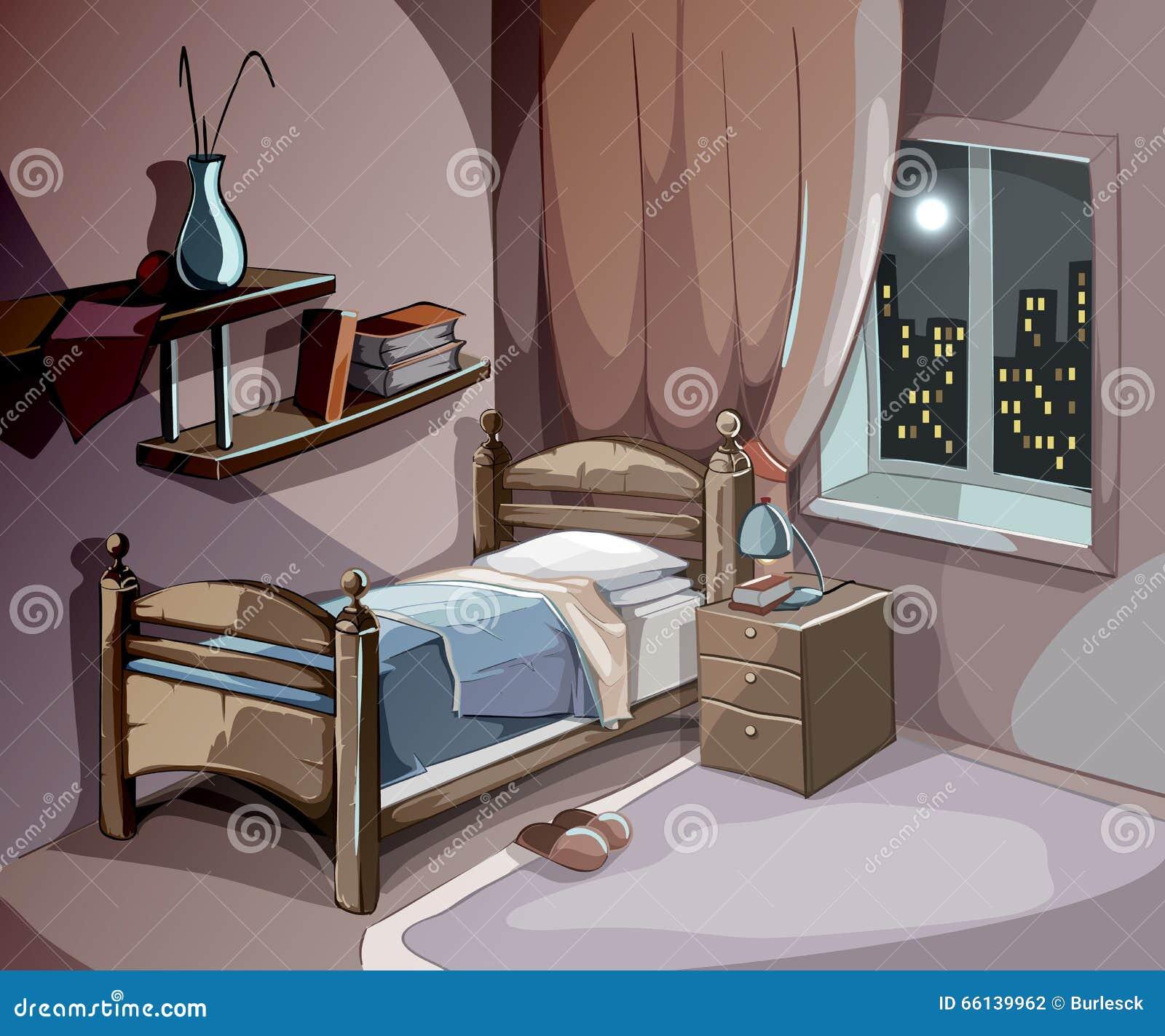 Desenho No Quarto ~ Interior Do Quarto Na Noite No Estilo Dos Desenhos Animados Fundo Do Conceito Do Sono Do Vetor
