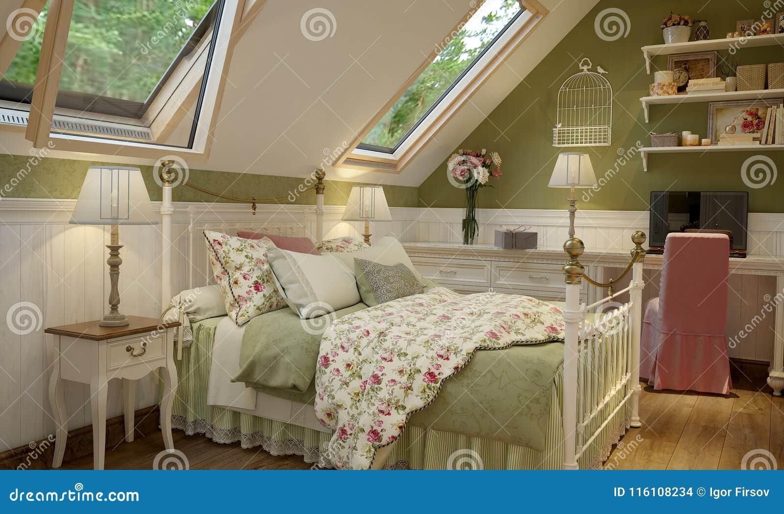 Interior do quarto no verde do estilo de Provence