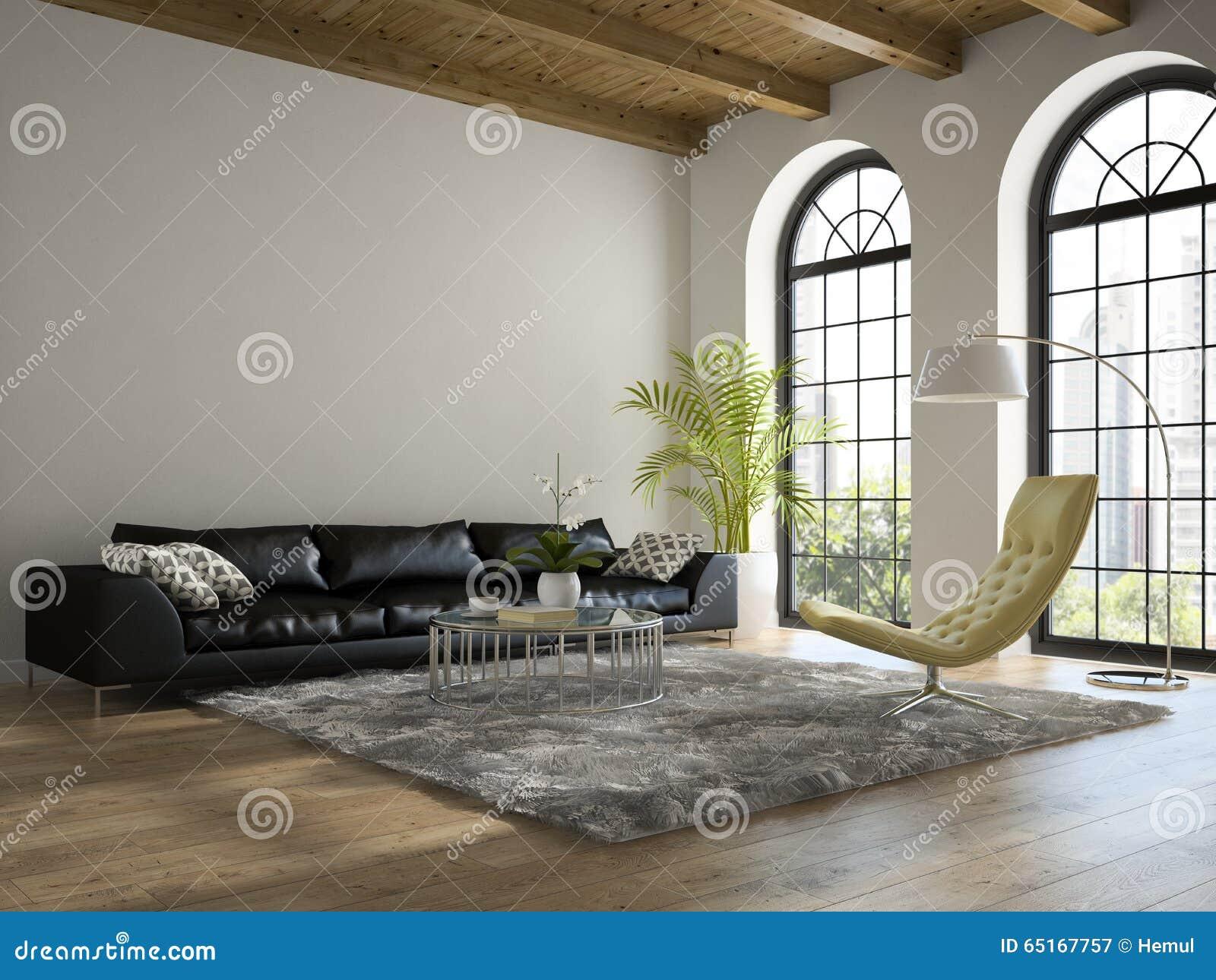 Interior do sótão com rendição preta do sofá 3D