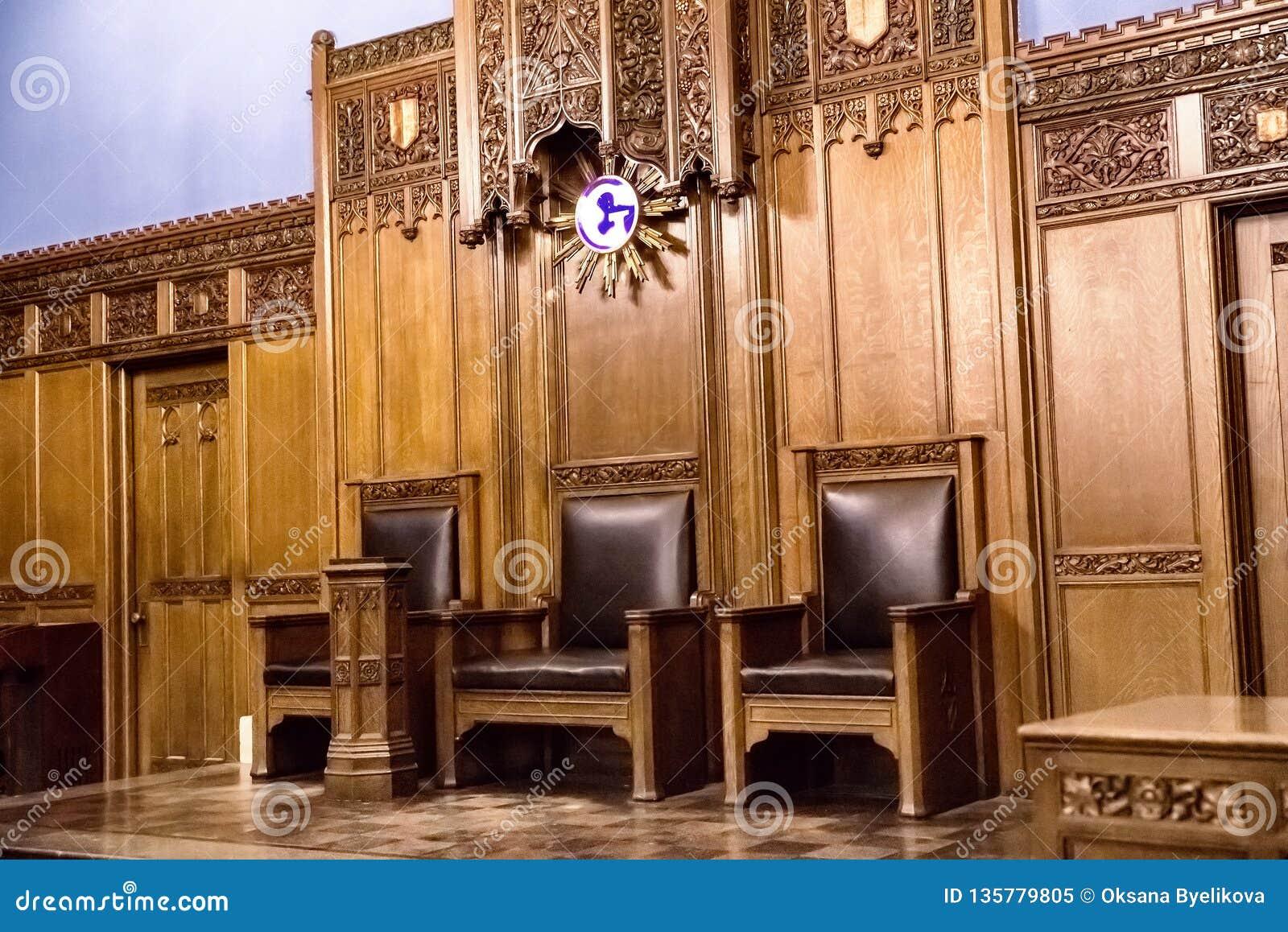 Interior do templo maçônico de Detroit Detroit, Michigan, EUA